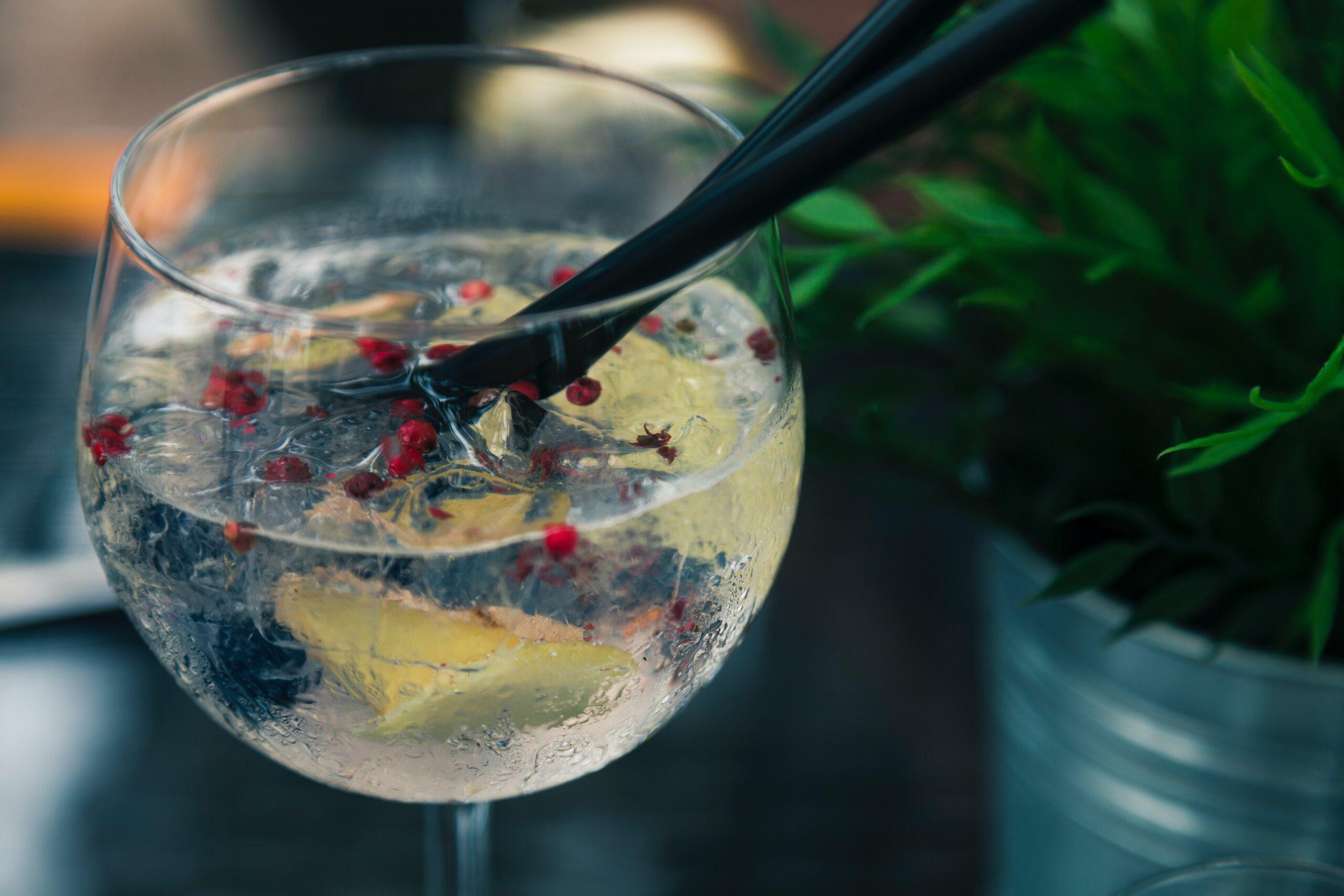 Gin with garnish